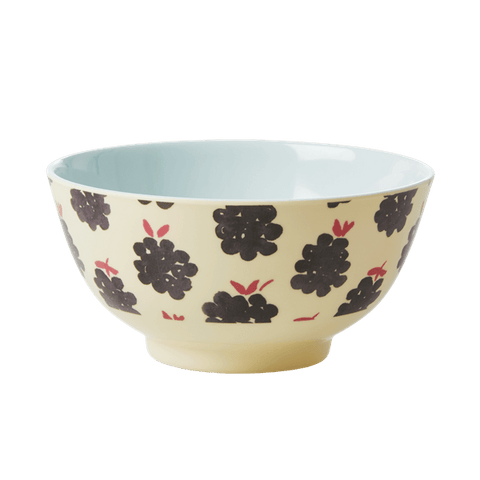 Two-Tone Bowl with Blackberry Print