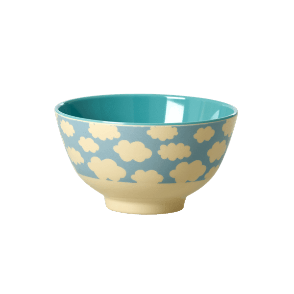 RICE,Small Two Tone Bowl with Cloud Print, blue,CouCou,Kitchenware