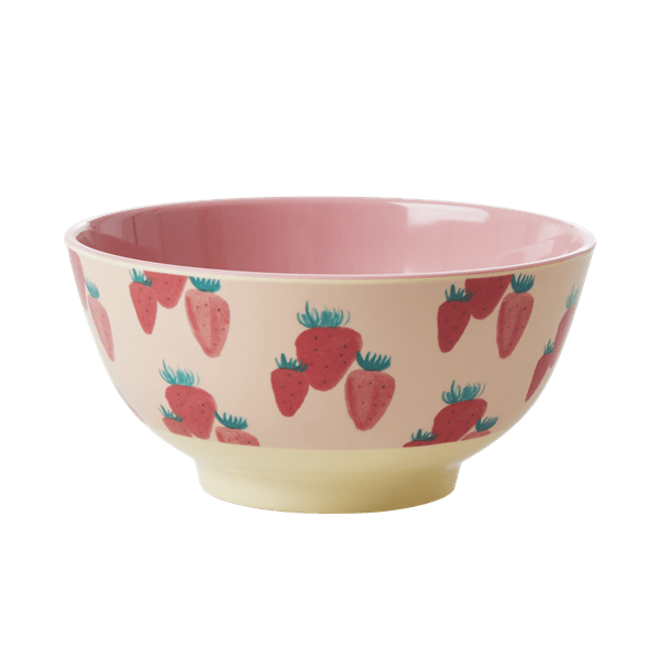 RICE,Two-Tone Bowl with Strawberry Print,CouCou,Kitchenware