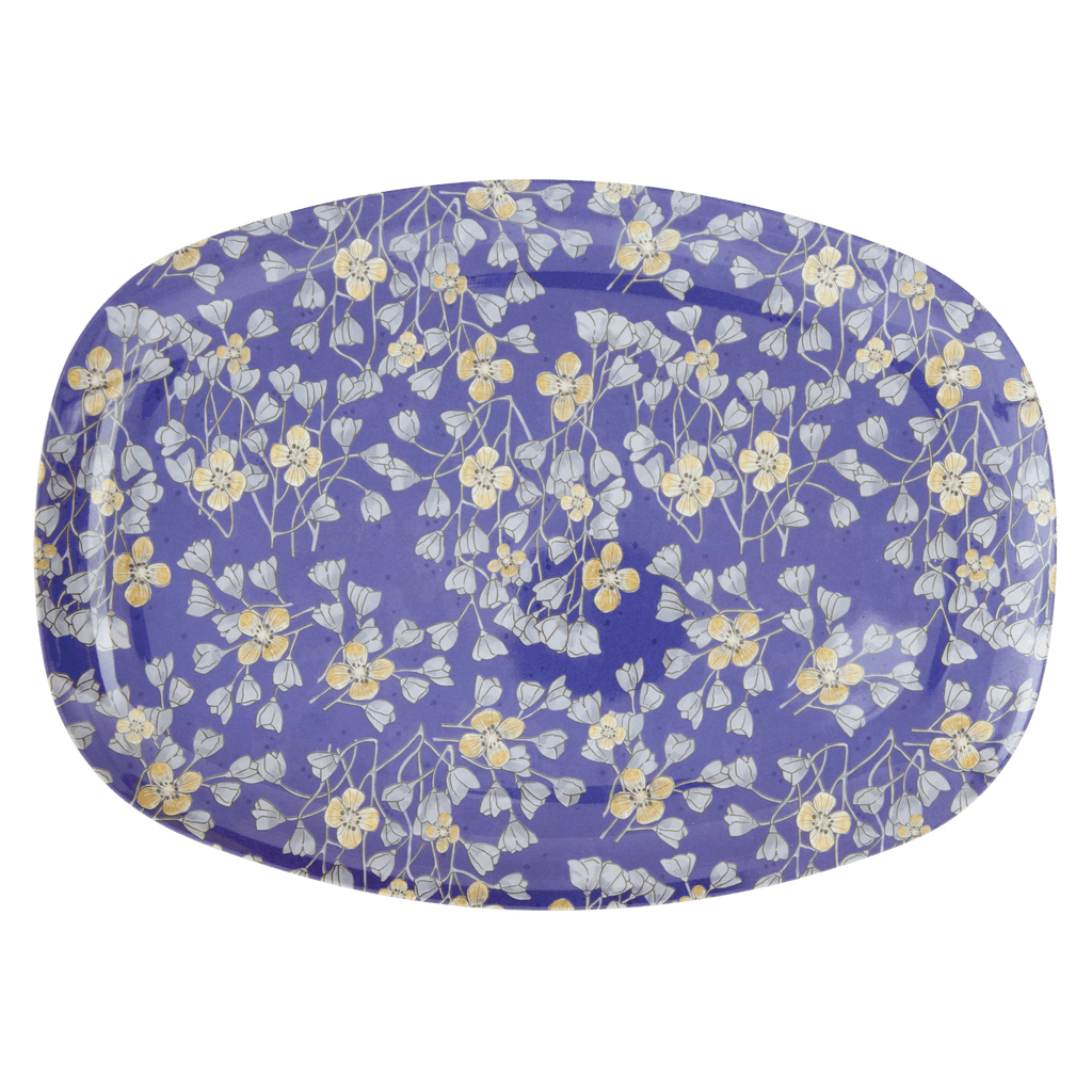 RICE,Rectangular Plate with Hanging Flower Print,CouCou,Kitchenware
