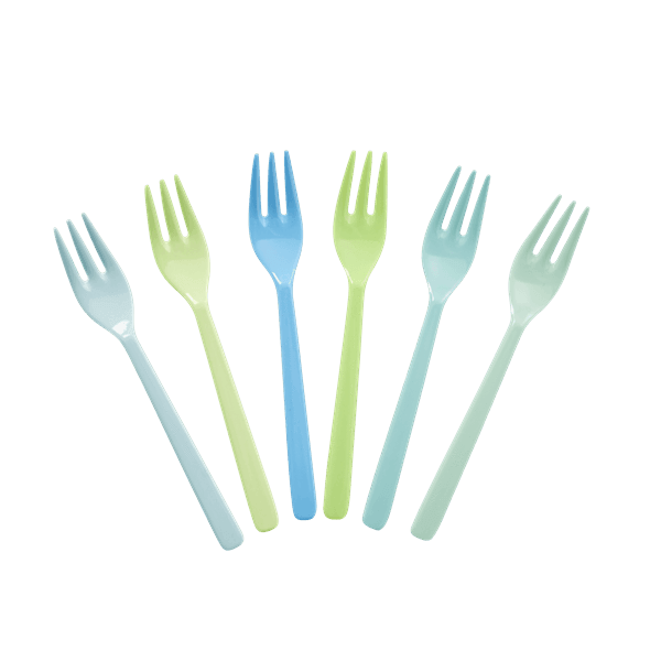 RICE,6 Forks in Assorted Blue and Green Colors,CouCou,Kitchenware