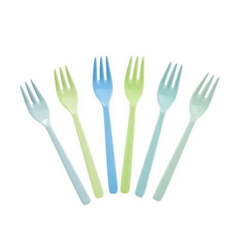 6 Forks in Assorted Blue and Green Colors