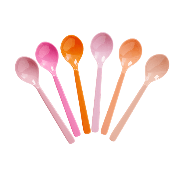 RICE,6 Spoons in Assorted Pink and Orange Colors,CouCou,Kitchenware