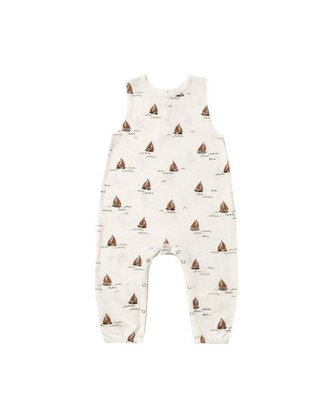 Rylee + Cru,Sailboat Mills Jumpsuit in Ivory,CouCou,Baby Boy Clothes