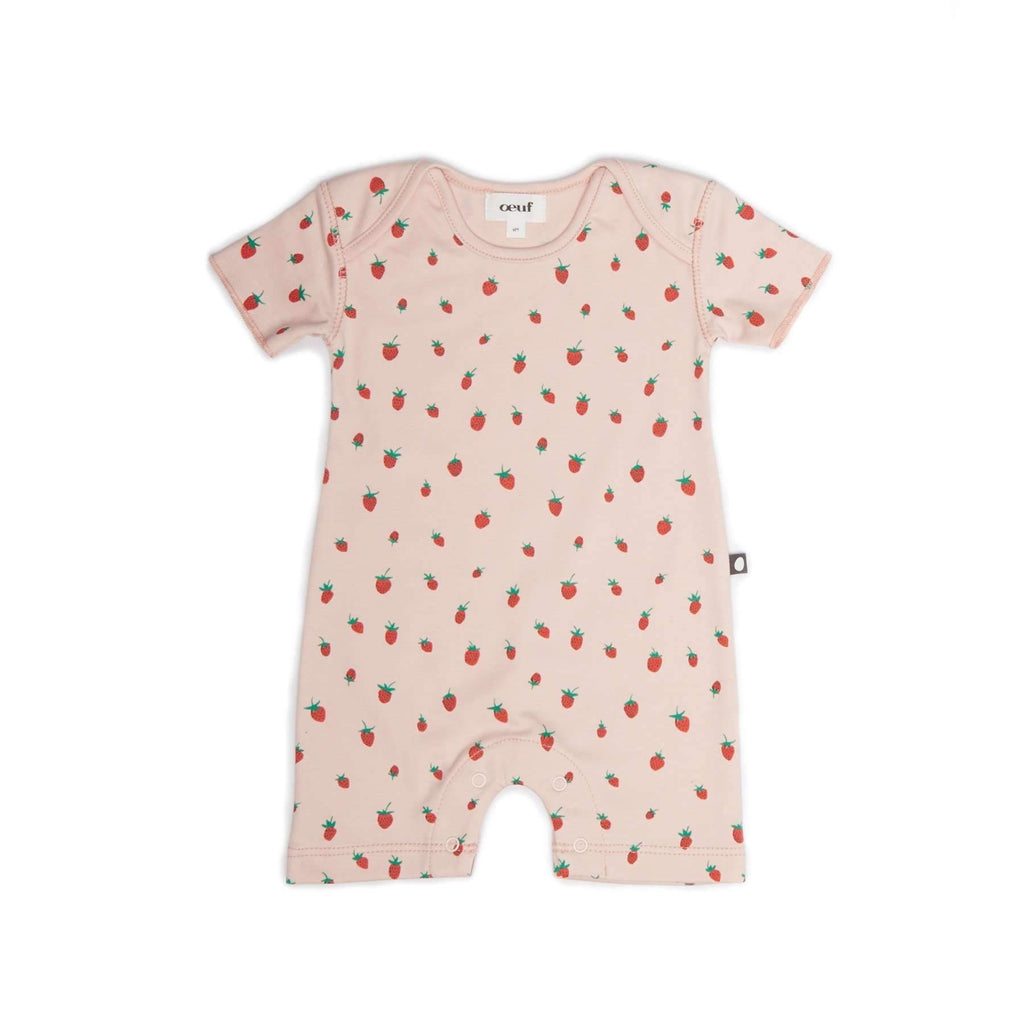 Oeuf,Strawberries Short Romper,CouCou,Baby Girl Clothes