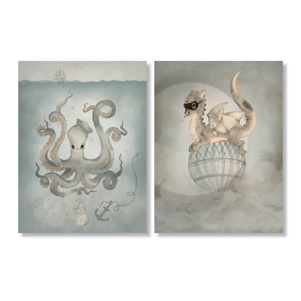 Mrs. Mighetto,2-Pack Water Crew- 18x24cm Limited Edition Prints,CouCou,Nursery Art