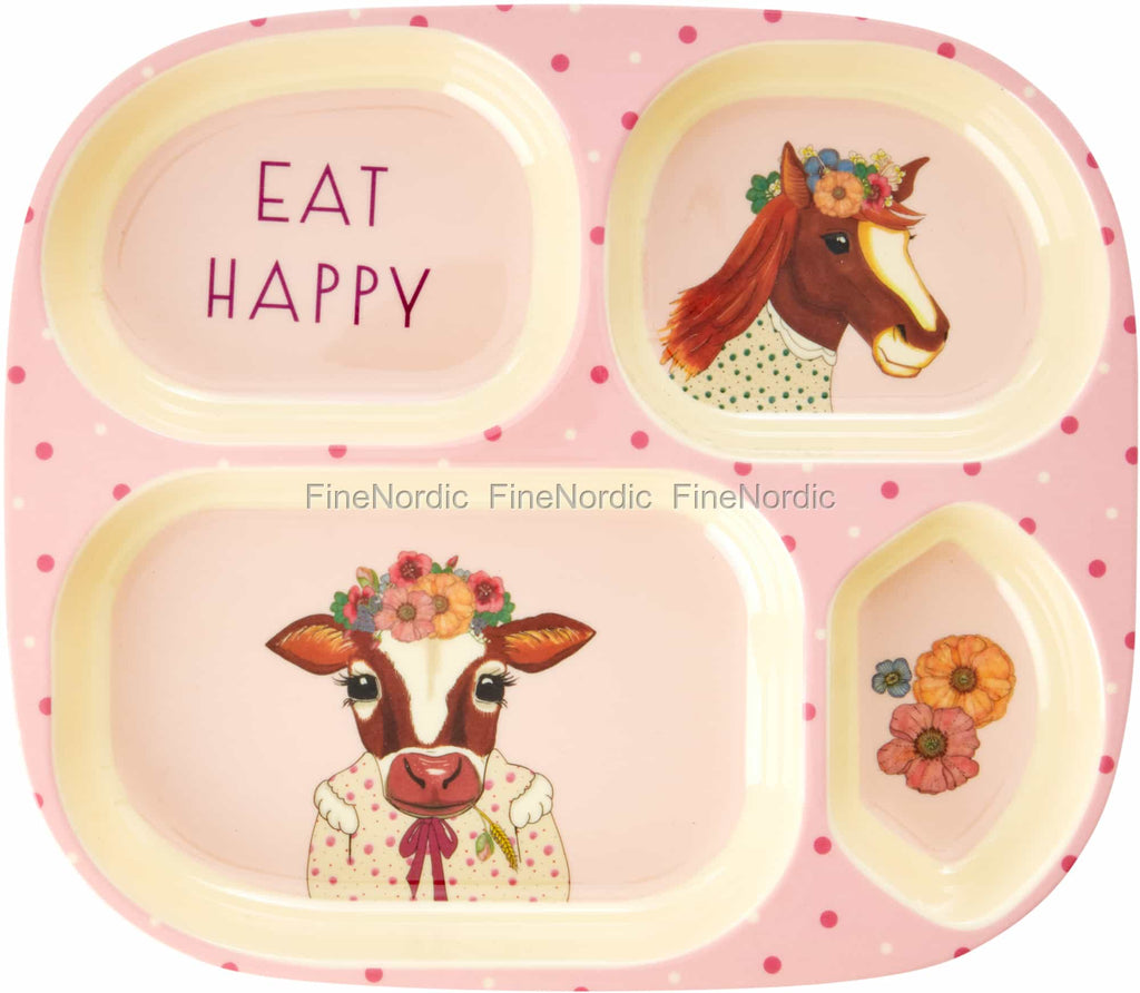 4-Room Plate with Farm Animals Print, Pink