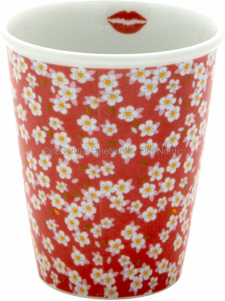 Porcelain Tall Cup with Dusty Rose Small Flower Print
