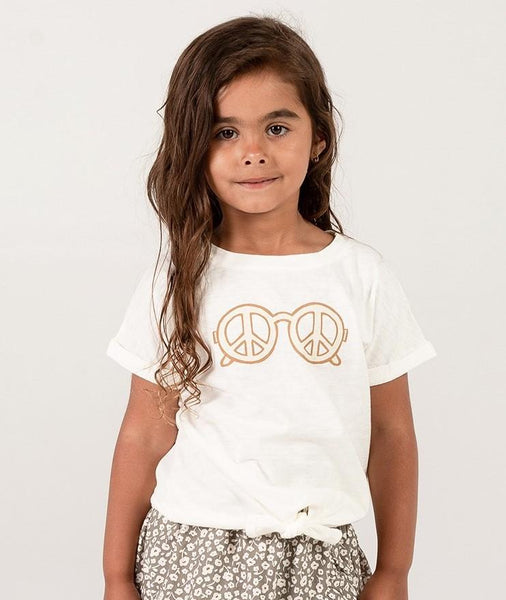 Rylee + Cru,Peace Knotted Tee in Ivory,CouCou,Girl Clothes
