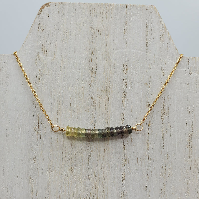 Beaded Bar Necklace with Green Sapphire