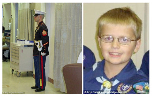 Marine Stands Guard at Hospital Room of Dying Boy