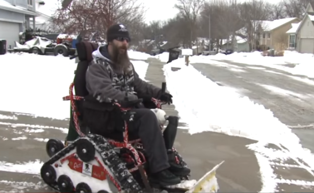 Video: Disabled Veteran Converts Wheelchair into Snow Plow to Help Community