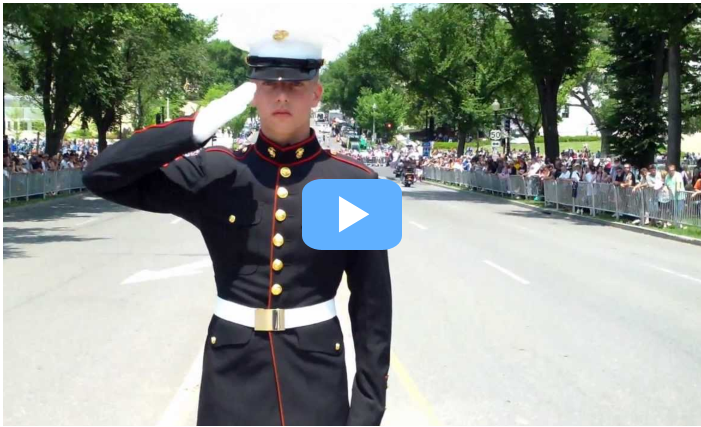 Wounded Marine Holds Salute For HOURS...Patriot Bikers' Reaction Will Amaze You