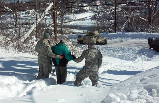 Viral Photo of National Guard Helping Man Get to Dialysis After Snowstorm