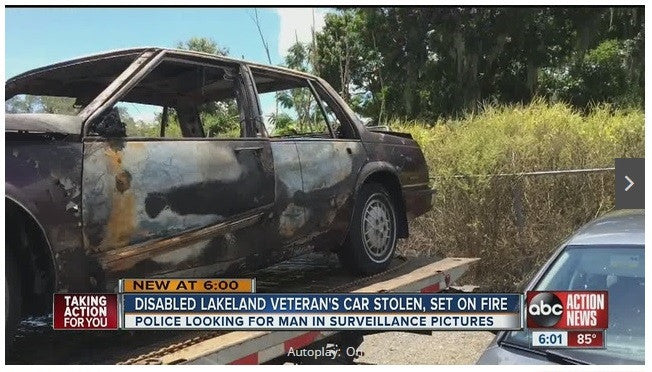 Disabled Veteran's Car Stolen & Burned