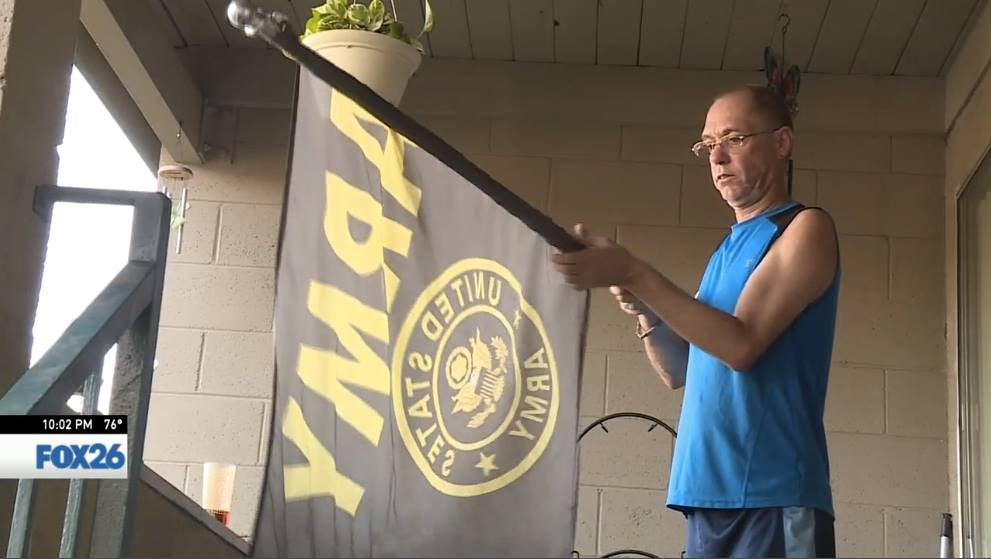 War Veteran told to Take Down US Army Flag!