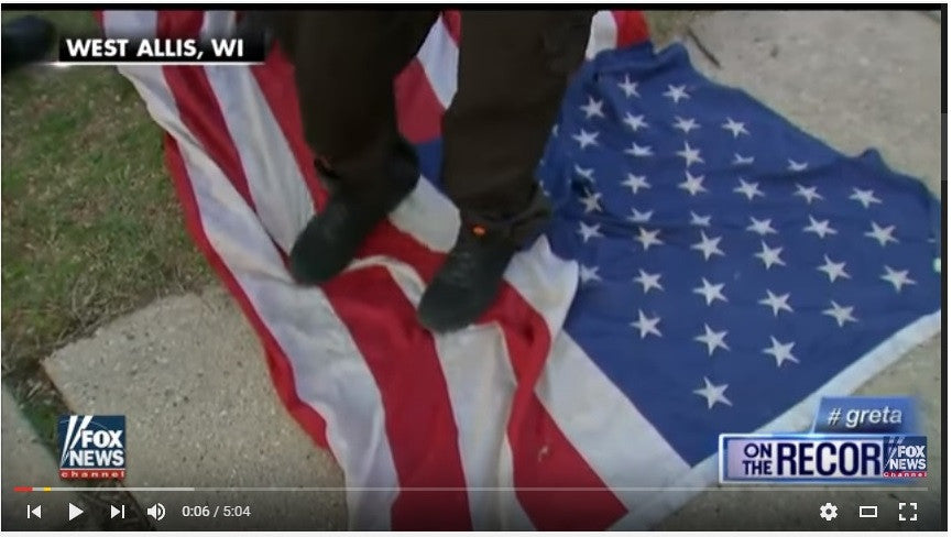 Activists Stomp & Spit on Flag in Front of Veterans