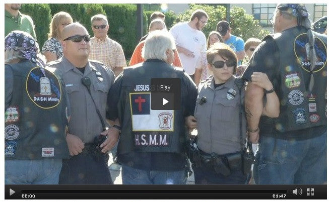 Bikers Gather To Support And Pray For Police Officers