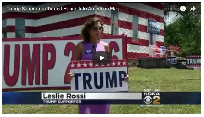 Trump Supporters Turn House Into Giant American Flag!