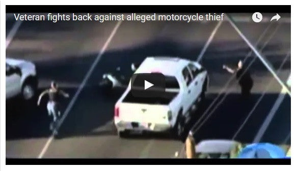 Veteran Fights Back Against Motorcycle Thief!