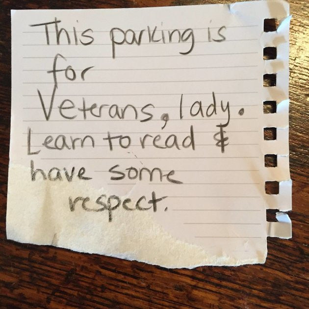 Veteran Receives Offensive Note After Parking in Veteran's Spot