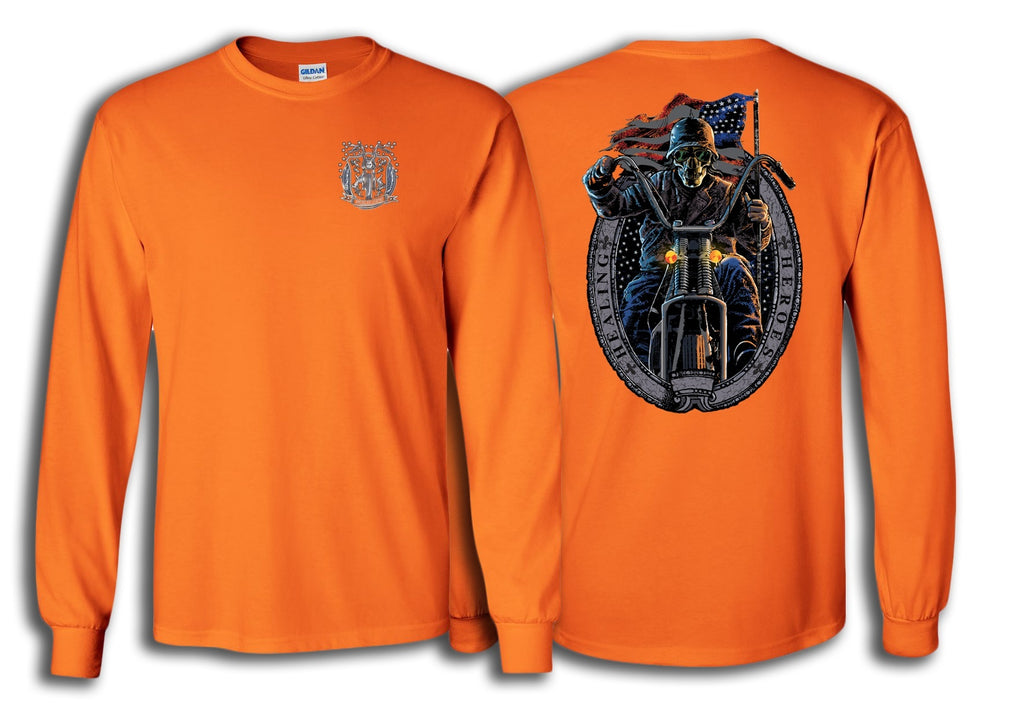 Long Sleeve Ghost Rider Shirt in Orange