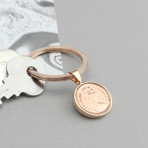 Rose Gold 1971 50th Birthday Half Pence Keyring