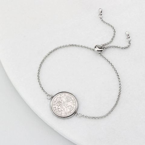 Any Date Personalised Sixpence Coin Bracelet
