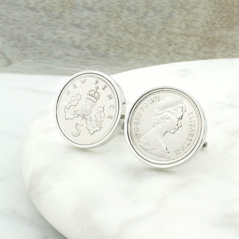 Personalised 1971 50th Birthday Five Pence Cufflinks