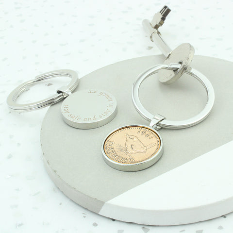 1941 80th Birthday Personalised Farthing Keyring