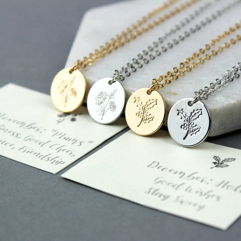 Birth Flower Necklaces