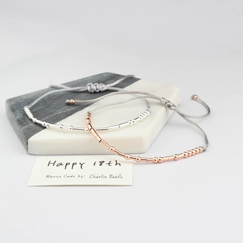 'Happy 18th' Birthday Morse Code Bracelet