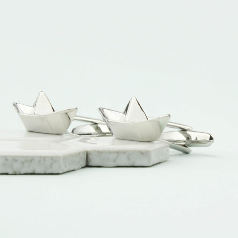 1st Anniversary Paper Boat Personalised Cufflinks