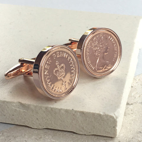 40th Birthday Rose Gold Halfpenny Cufflinks