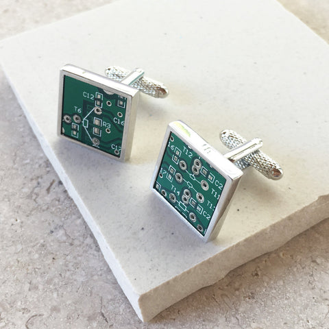 Genuine Circuit Board Cufflinks - Square with Silver Rim