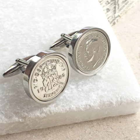 1950 70th or 1940 80th Birthday Sixpence Coin Cufflinks