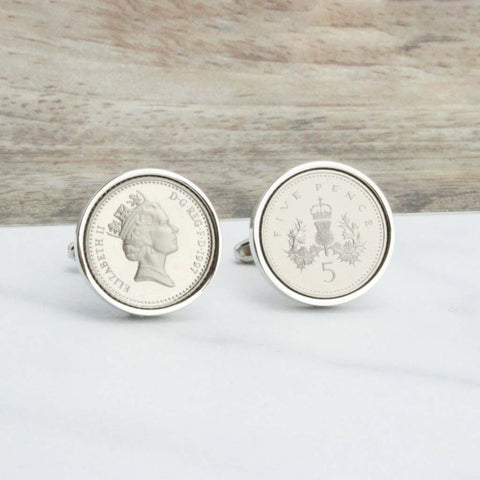16th Birthday Five Pence Cufflinks
