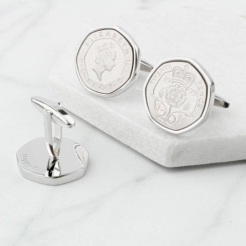 Personalised 21st Birthday Twenty Pence Coin Cufflinks