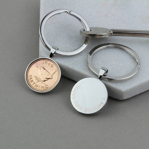 1950 70th Birthday Polished Farthing Keyring