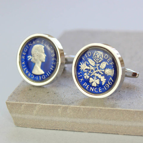 Enamel Sixpence Cufflinks 1959 60th or 1949 70th Birthday