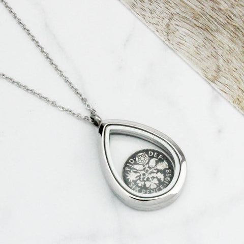 1960 60th Birthday Enamel Sixpence Teardrop Necklace