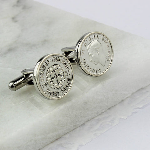 Threepence Bit Coin Cufflinks 1939 80th Birthday