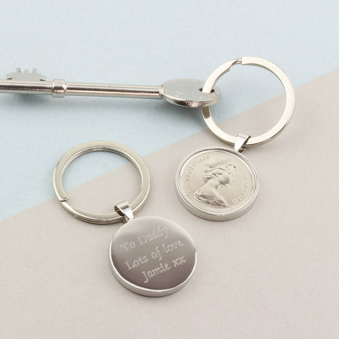 Personalised 1970 50th Birthday 5p Five Pence Keyring