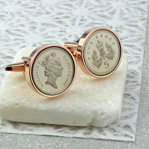 Rose Gold Five Pence Cufflinks 21st And 18th