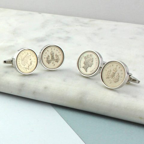 18th or 21st  Birthday Five Pence Cufflinks