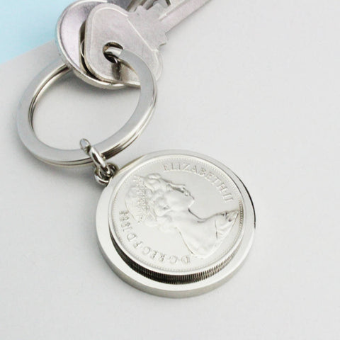 Personalised 50th Birthday 1970 Ten Pence Keyring
