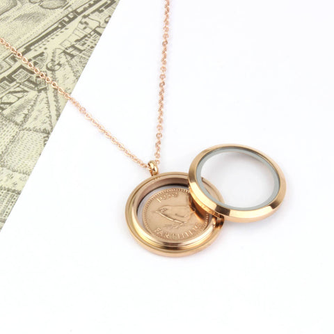 70th/ 80th Birthday Rose Gold Farthing Locket Necklace