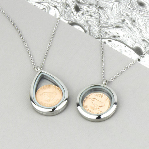 70th/80th Birthday Silver Farthing Locket Necklace