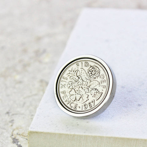 Personalised Sixpence Tie/Lapel Pin 1928 To 1967