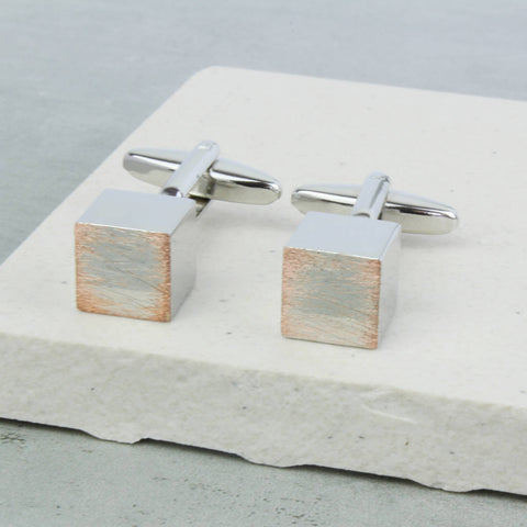 Brushed Silver Cube Cufflinks